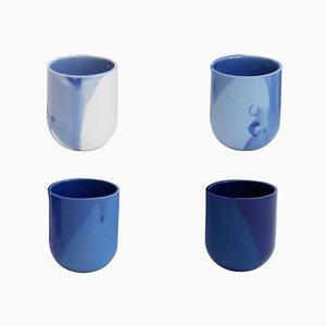 Blau Glasierte Sum Espresso Tassen, 4er Set