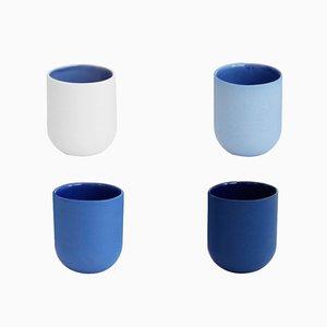 Tazas de café Sum con acabado suave azul. Juego de 4