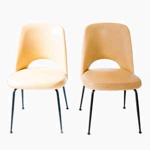 Italienische Gelbe Mid-Century Skai Stühle, 1950er, 2er Set