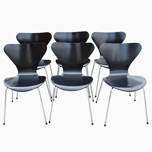Modell 3107 Esszimmerstuhl von Arne Jacobsen für Fritz Hansen, 1960er, 6er Set