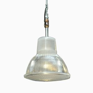 Lampada industriale in metallo e vetro di Holophane, anni '60