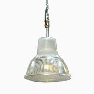 Lámpara industrial de vidrio y metal de Holophane, años 60