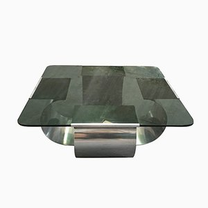 Italian Stainless Steel Coffee Table with Smoked Glass Top by Francois Monnet, 1970s
