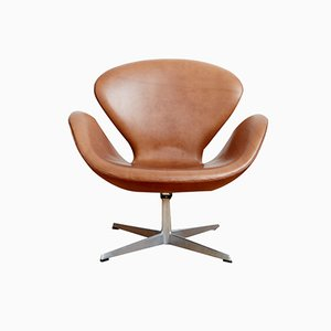 Leather Swan Chair by Arne Jacobsen for Fritz Hansen, 1965