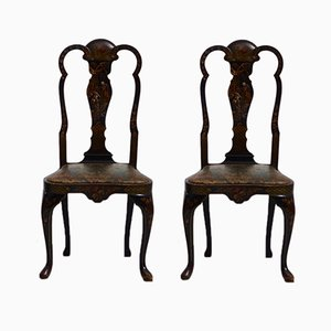 Antique Rococo Style Side Chairs with Chinese Lacquer, Set of 2