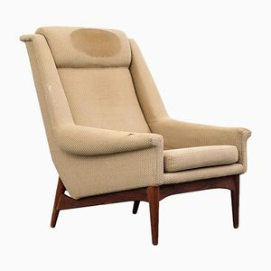 Customizable Danish Teak High Back Easy Chair from Bramin, 1960s
