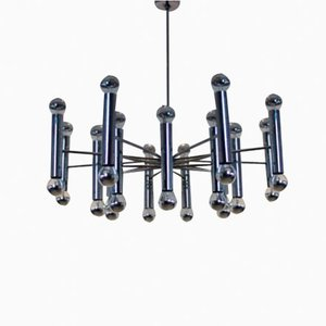 Large Vintage Chrome Sputnik Chandelier from Doria