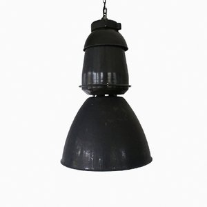 Large Industrial Black Pendant Lamp, 1950s