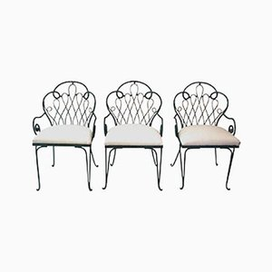 French Iron Chairs by René Prou, 1980s, Set of 3