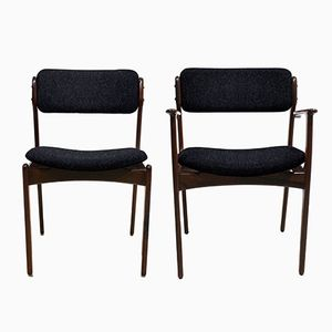 Customizable Vintage Models OD49 & OD50 Chairs by Erik Buch for O. D Møbler A.S, Set of 4 in Black and White