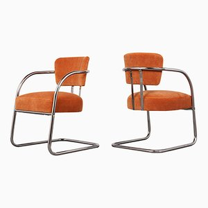 Pair of Tubular Velvet Lounge Chairs, 1960s