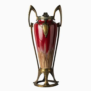 Vaso Art Nouveau in ceramica di Honegge, Francia