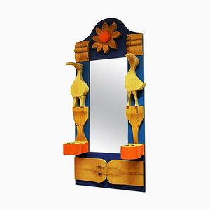 Pine Wall Mirror with Decorations by Erik Höglund, Sweden, 1960s