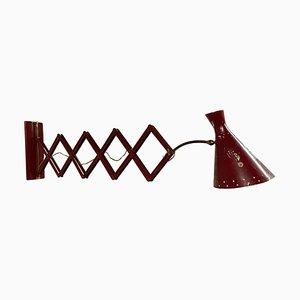 Italienische Industrielle Rote Konzertina Scissor Wandlampe, 1950er
