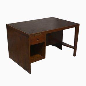 Holzschreibtisch mit Beschriftung von Pierre Jeanneret, 1958
