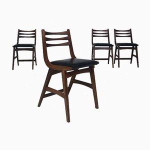 Mid-Century Eichenholz Esszimmerstühle, 1950er, 4er Set