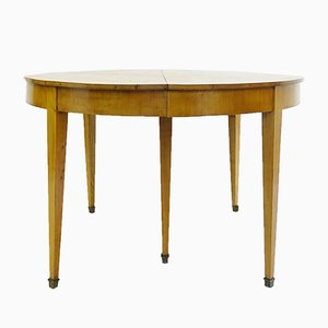 Vintage Round Cherry Extendable Dining Table, 1970s