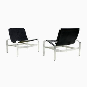 Vintage Aluminum & Leather Lounge Chairs from Walter Knoll, 1980s, Set of 2