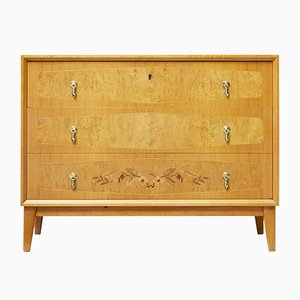 Scandinavian Modern Inlaid Elm Chest of Drawers, 1940s