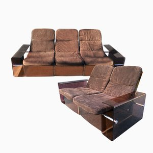 Vintage 2- and 3-Seater Sofas, Set of 2