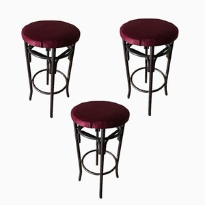 Vintage Velvet Seat & Metal Stools, 1960s, Set of 3