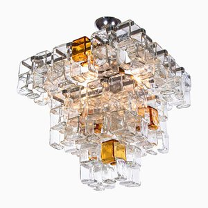 Italian Interlocking Chandelier in Amber & Clear Murano Glass and Chrome from Poliarte, 1960s