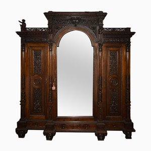 Sellerio Giuseppe Carved Walnut Wardrobe, 1800s