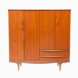 French Teak Veneer Model 156 Wardrobe from Ameublement NF, 1960s