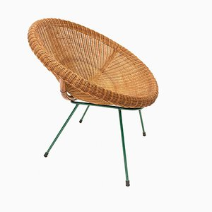 Mid-Century Italian Rattan and Bamboo Lounge Chair with Green Metal Legs, 1950s