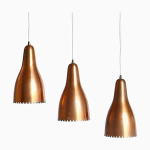 Copper Bell Ceiling Pendants by Bent Karlby for Lyfa, Copenhagen, 1950s, Set of 3