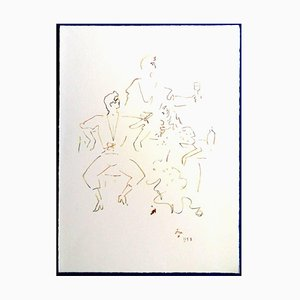 Spanische Party Lithographie von Jean Cocteau, 1961