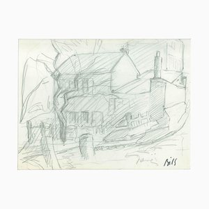 House - Original Pencil Drawing by Claude Bils - 1950s 1950s