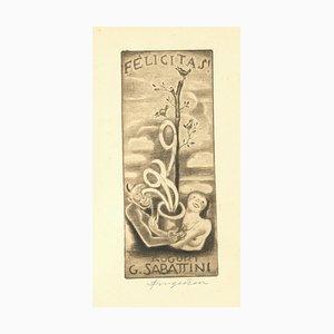 Ex Libris - Felicitas - Original Holzschnitt von M. Fingesten - Früh 1900 Früh 1900