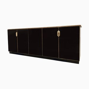 Black Glass Credenza in the Style Maison Jansen, 1970s