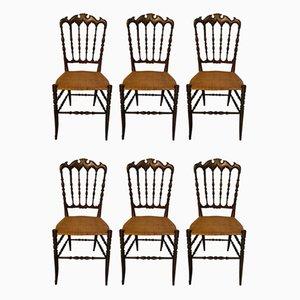 Italian Chiavari Dining Chairs, 1970s, Set of 6