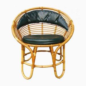 Scandinavian Armchair in Bamboo and Rattan, 1960s