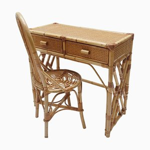 Rattan Desk or Vanity Table with Drawer & Chair Set, Italy, 1970s
