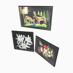 Peintures Style Montagne Brodées en Laine, Set de 3