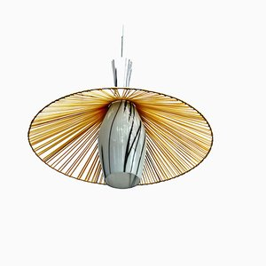 Modernist Pendant Lamp with Opal Glass Shade, 1950