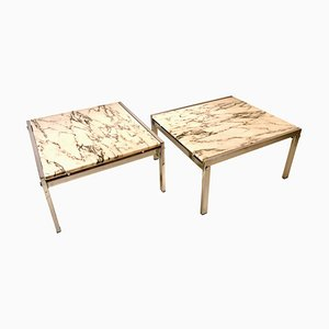 Side Tables in Chrome and Carrara Marble, 1960s, Set of 2