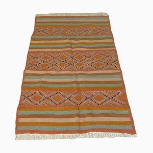 Vintage Orange Berber Tribal Kilim Rug