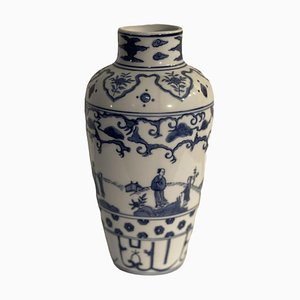 Vintage Chinese White and Blue Vase