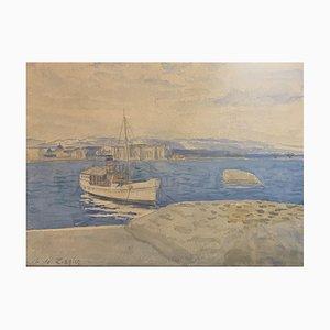 Charles De Ziegler, Bateau Accosté sur le Léman, 1930