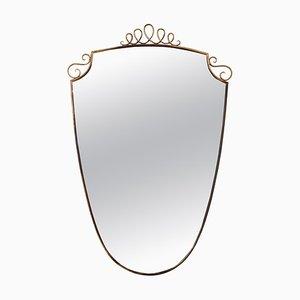 Italienischer Messing Spiegel im Stil von Gio Ponti, 1950er