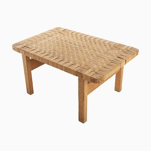 Danish 5273 Skammel Stool in Oak with Seat in Braided Rattan by Børge Mogensen for Fredericia, 1960s