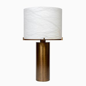 Brass Table Lamp with Alabaster Shade by Glustin Creation
