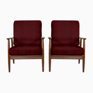 Customizable Danish Easy Chairs in Solid Teak, Set of 2