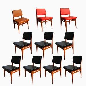 Sedie nere, rosse e marroni, anni '50, set di 10