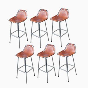 Leather Les Arcs Stools by Charlotte Perriand for Cassina, 1960s, Set of 6