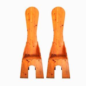 Stühle aus der Nella Valle Reihe von Mario Ceroli für Poltronova Edition, 1970er, 2er Set